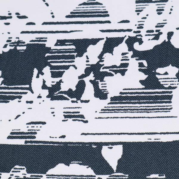 """Baumwolle-Polyester Twill """"Blumen&Streifen"""" - weiss/dunkelblau"""