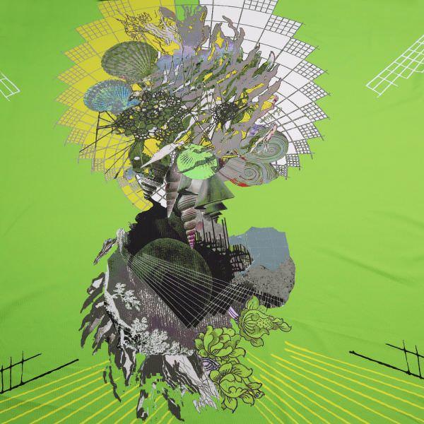 Fitness & Bademodenstoff Lycra Futuristisches Muster - grün/gelb/grau/flieder