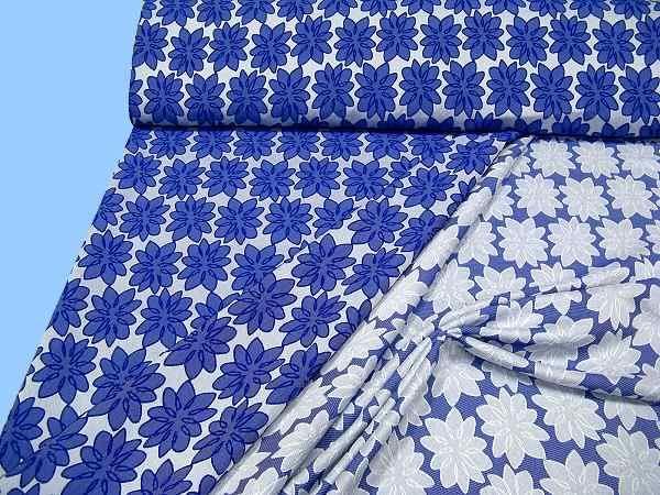 Kleiderstoff mit eingewebtem Blumenmuster - royalblau/wollweiss