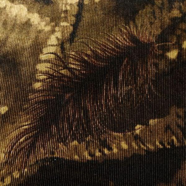 Stretch Rippen- Nicki Stoff Blätter - beige/braun/dunkelbraun