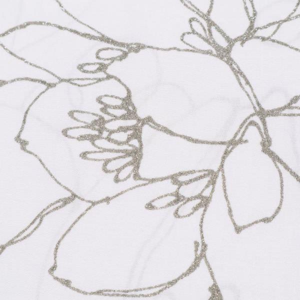 Viskosestoff Glitzer Blumen - wollweiss/silbergrau (Reststück - 1,3m)