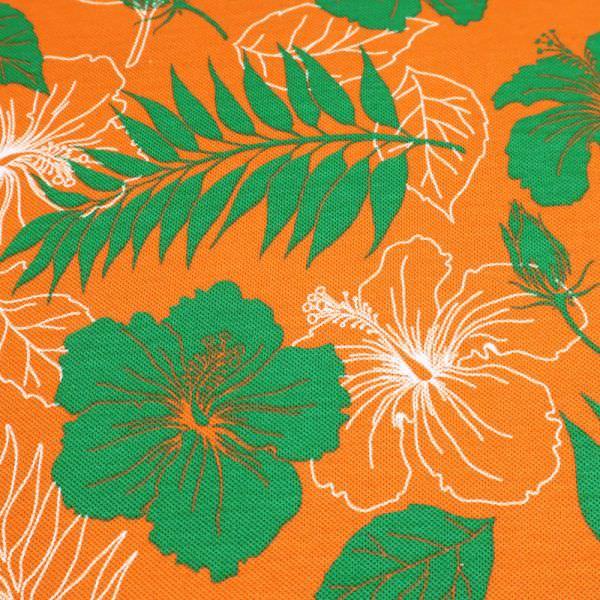Piqué Jersey Hibiskusblüte - orange/grün/weiss Extra breit !!