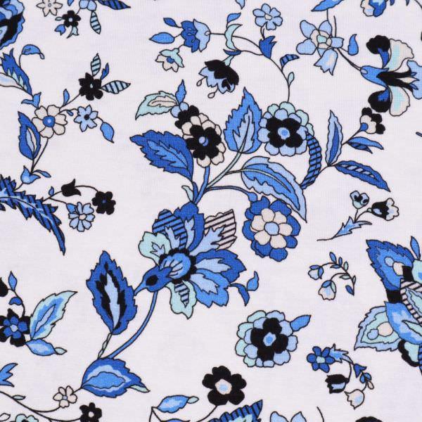 Viskosejersey blaue Blumen - weiss/türkis/blau/könibsblau/schwarz