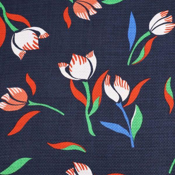 Viskosestoff Tulpen & feines Muster - nachtblau/rot/grün/blau/terrakotta