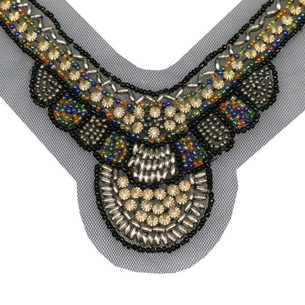 Applikation für V-Ausschnitt mit Perlen - schwarz/gold/silber/multicolor