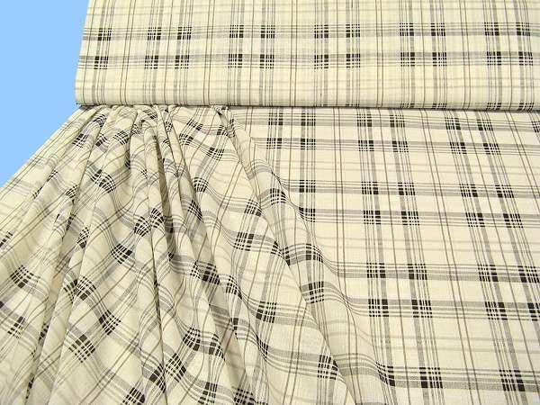 Kleiderstoff mit Karo - wollweiss/schwarz