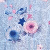 Jersey-Spitze mit Blumen-Motiv - hellblau/rosé/blau/weiss