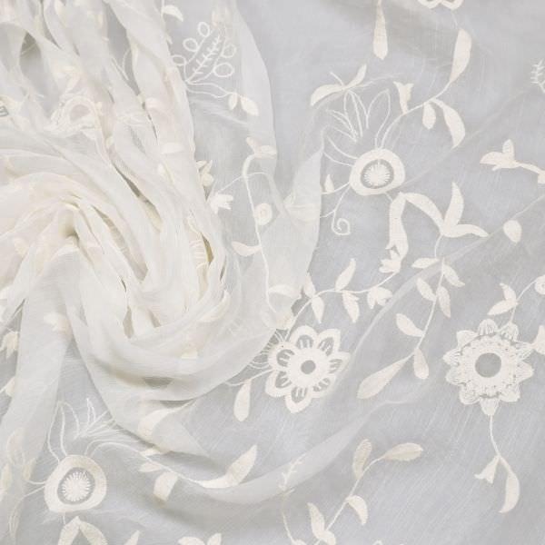 Reine Seide Seidenchiffon mit Baumwollstickerei Blumenranken - naturweiss