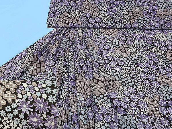 Chiffon bedruckt - Blumen-Motiv - braun/flieder/lila/braun/beige/hellblau/wollweiss