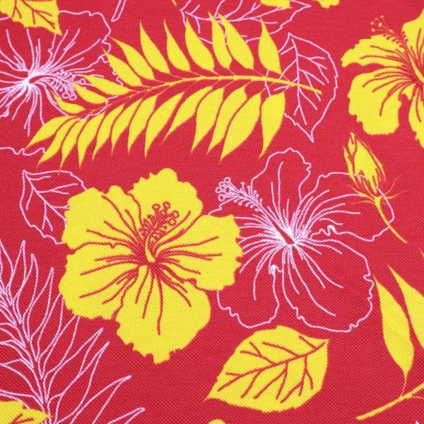 Piqué Jersey Hibiskusblüte - himbeere/gelb/weiss Extra breit !! (Reststück 5,5m)