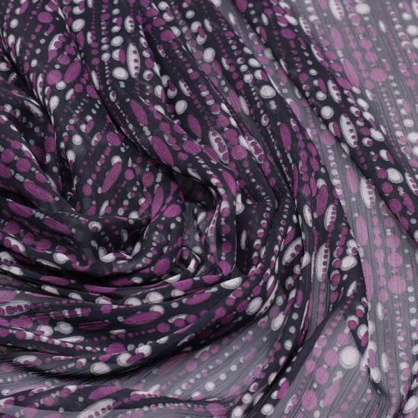 Crêpe Chiffon Streifen & Punkte - schwarz/lila/grau