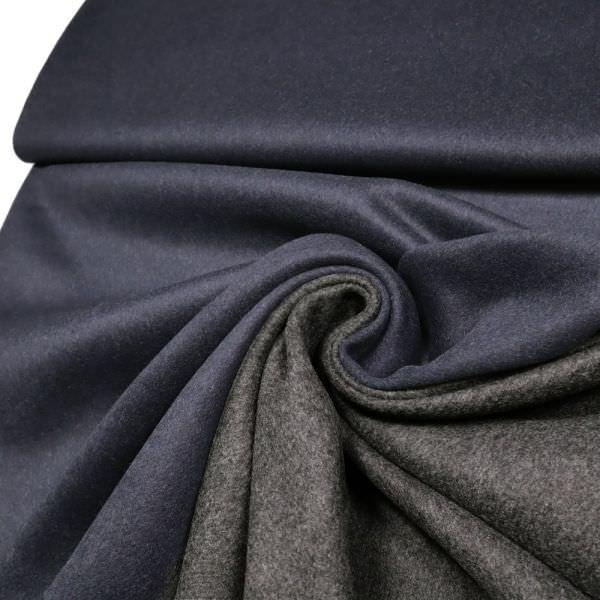 Doubleface Kaschmir- Mantelvelour - dunkelblau/anthrazit (Reststück - 1,7m)