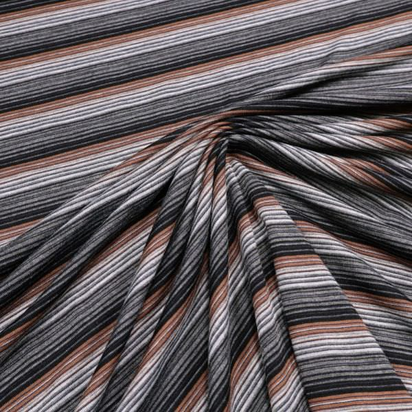 Feinstrick-Jersey - braun/hellgrau/grau/schwarz