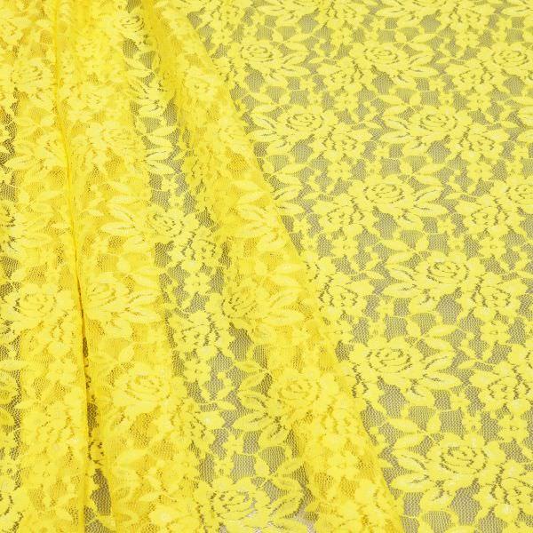 Stretch Tüll-Spitze mit Blumen-Motiv - gelb