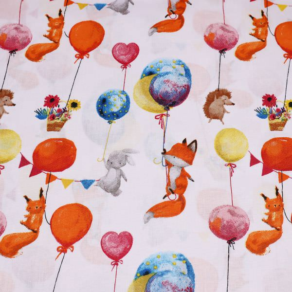 Kinderstoff Baumwollstoff Luftballons & Wildtiere - weiss/orange/rot/türkis Öko-Tex Standard 100