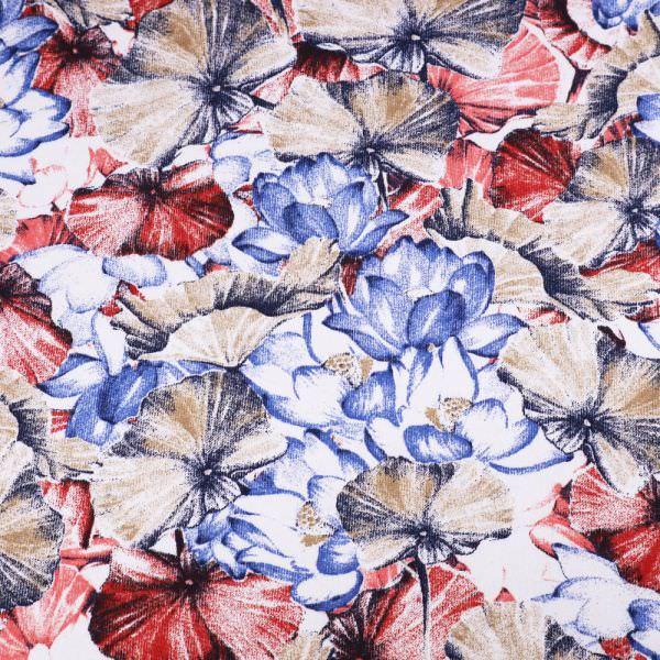 Sweatshirt Stoff Blumen - weiss/rot/koralle/beige/blau Extra breit !