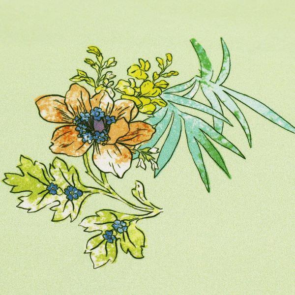 Stretch Baumwollstoff mit Blumen - lindgrün/gelb/lila/orange (2.Wahl)