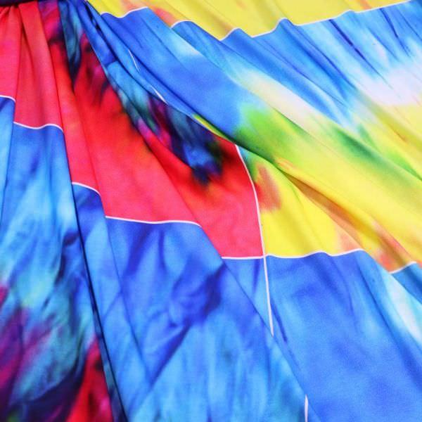 Baumwolljersey Batik - rot/gelb/grün/blau