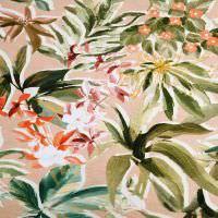 Viskosejersey Exotische Blumen - altrosa/lachs/rot/gelb/olivgrün