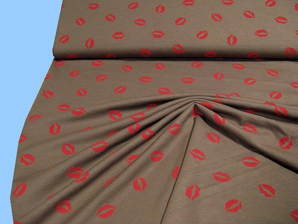 Jersey mit Lippenmotiv (Powerstretch) - braun/hellrot