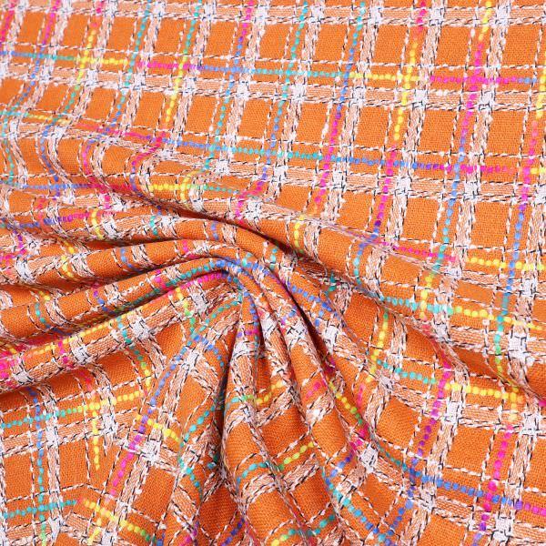 Bouclé Rainbow Karo - orange/fuchsia/türkis/gelb/grün