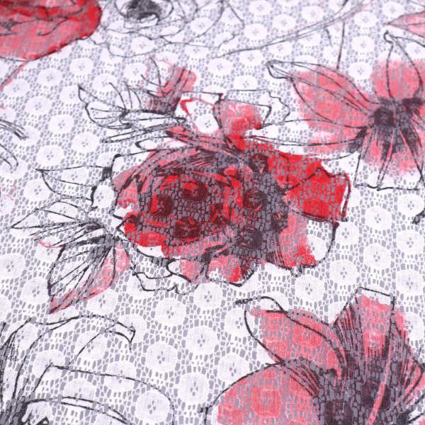 Spitze mit Rosen&Lilien -weiss/rot/rosa