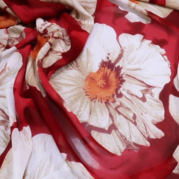 Viskose Chiffon grosse Blumen - rot/himbeere/beige/orange/wollweiss (2.Wahl)