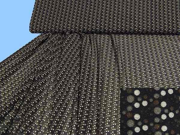 Chiffon mit Punkten - schwarz/taupe/beige/braun