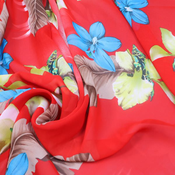 Viskose Chiffon Orchideen & Blätter - rot/türkis/gelb/braun