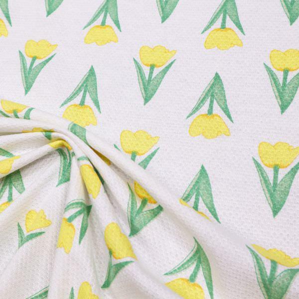 Piqué Jersey Tulpen - weiss/gelb/grün