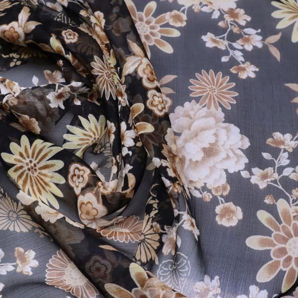 Reine Seide Crêpe Chiffon Blumen - schwarz/beige/braun/gelb/wollweiss