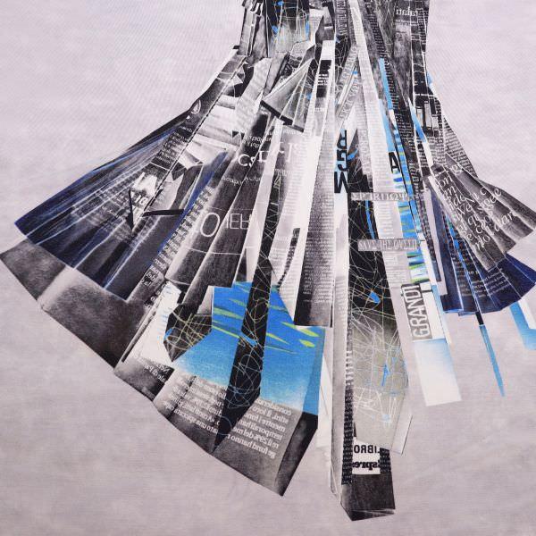 Viskose Slinky-Jersey Abstrakt - hellgrau/blau/anthrazit