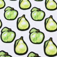 Digitaldruck Viskosejersey Apfel & Birne - wollweiss/hellgrün/gelb/schwarz