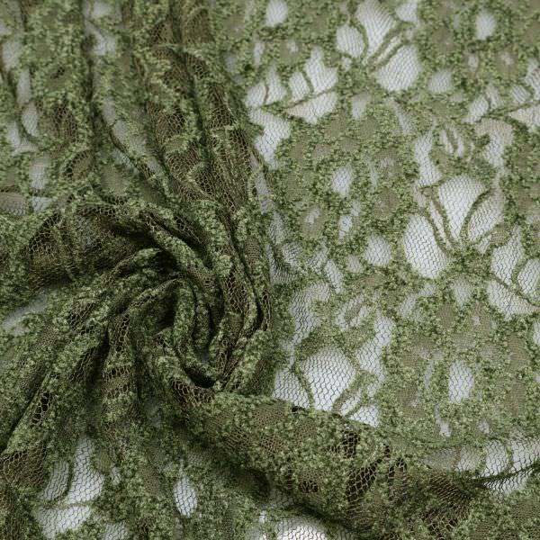 Stretch Spitzenstoff mit Blumen uni - schilfgrün