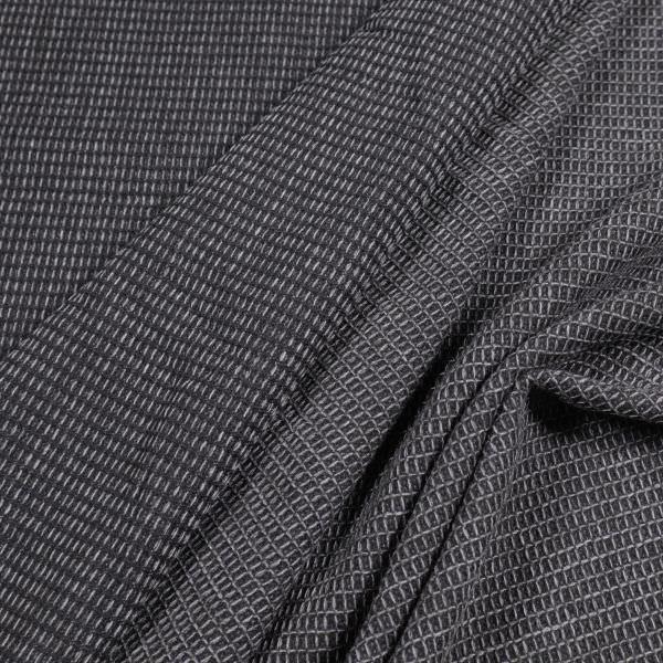 Wollstoff-Mix meliert&gemustert - schwarz/grau (Reststück - 1,5m)