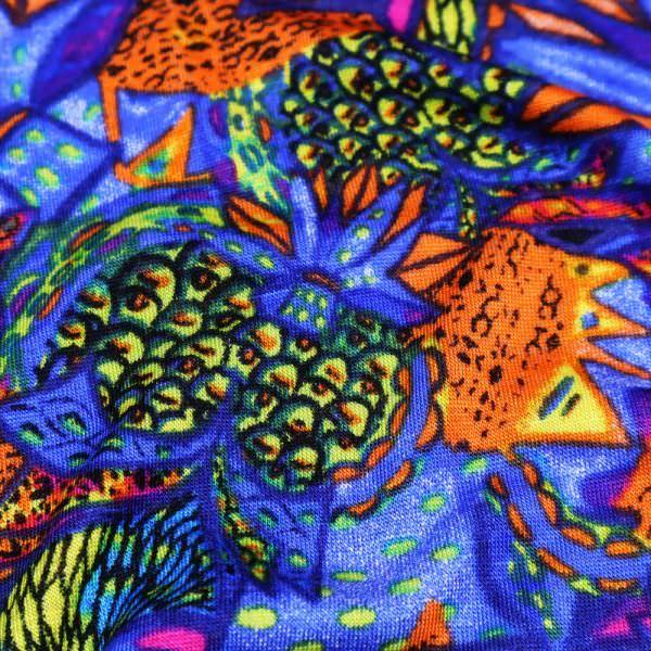 Viskosejersey Ananas & Palmen - blau/orange/grün/gelb