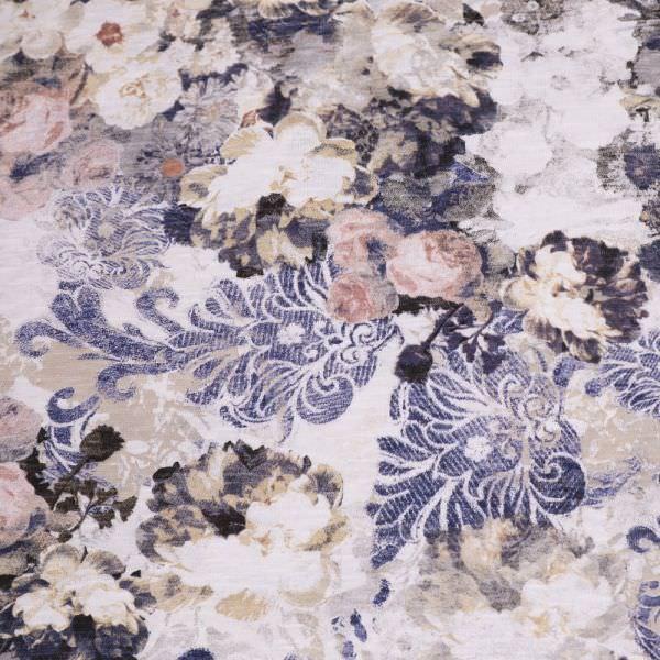 Baumwolljersey Romantische Blumen - wollweiss/rosé/beige/altrosa/blau Extra breit !