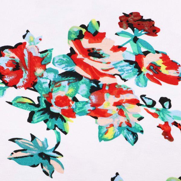 Viskosejersey mit Rosen-Motiv - wollweiss/rot/rosé/grün/hellblau/gelb