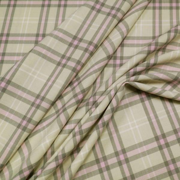 Stretch Hosen- und Kostümstoff mit Karo - beige/rosé/taupe
