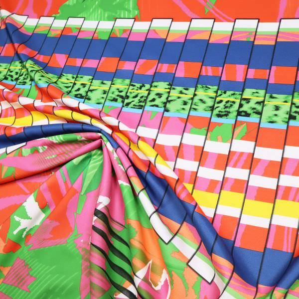 Blusen- und Kleiderstoff Mustermix - weiss/orange/fuchsia/grün/blau