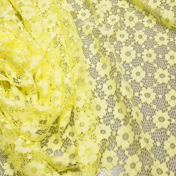 Stretch Spitze mit Blumen-Motiv - gelb