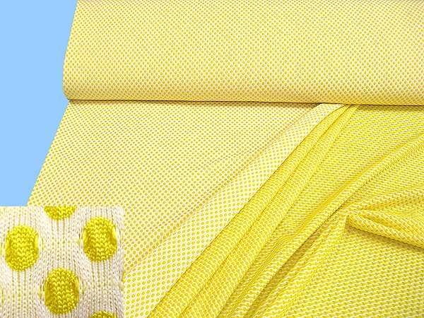 Jerseystoff mit Punkten - weiss/gelb