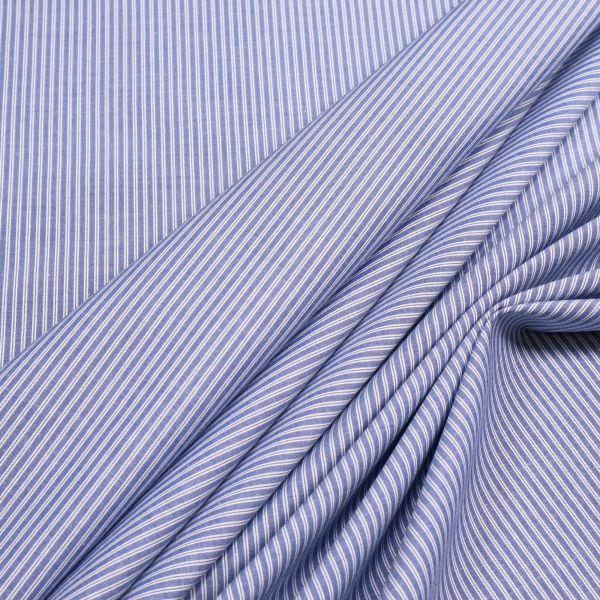 Baumwolle-Polyester Mix Streifen - blau/weiss