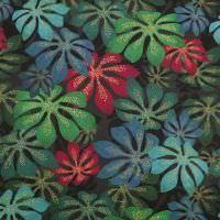 Stretch Baumwollstoff Dschungel Blätter - schwarz/grün/petrol/bordeaux/blau