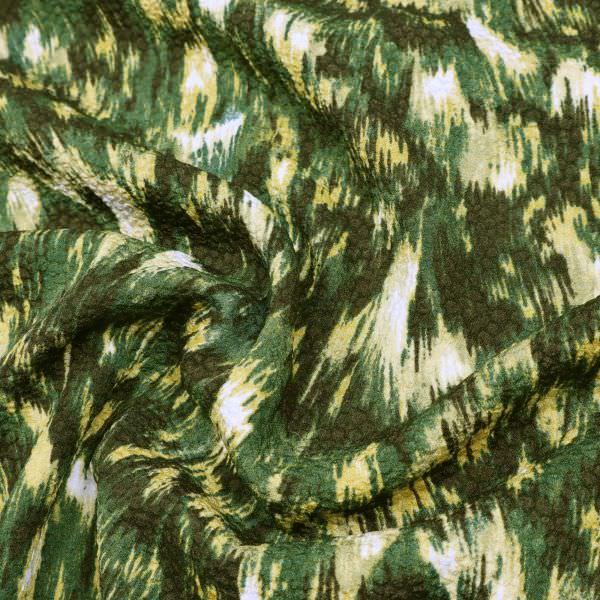Blusen- und Kleiderstoff - grün/khaki/ocker/wollweiss
