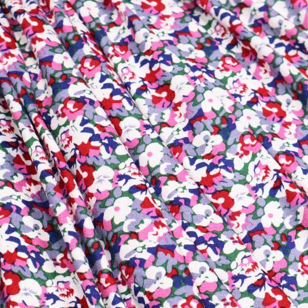 Viskosejersey mit Blumen - weiss/grau/rot/fuchsia/dunkelblau
