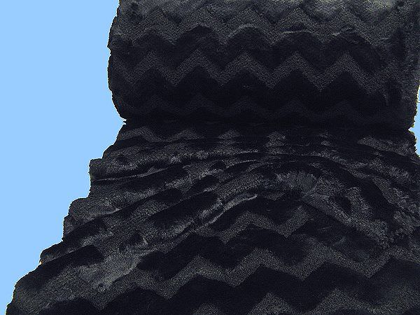 Strick mit Langhaar Webpelz uni - schwarz