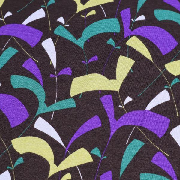 Viskosejersey abstrakte Blätter - braun/lila/senfgelb/grün