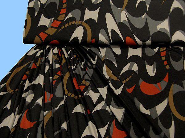 Feinjersey bedruckt - schwarz/anthrazit/terrakotta/grau/khaki