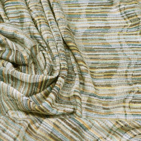 Feinstrick-Jersey Melange & Wellige Linien - weiss/gelb/mint/ocker/braun